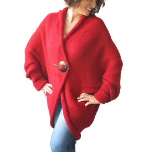 Plus Size Red Cardigan Sweater