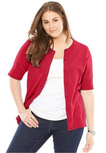 Plus Size Red Cardigan for Girls