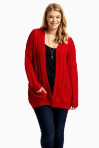 Plus Size Red Cardigan for Women