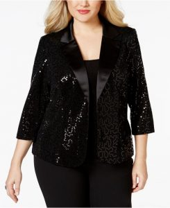 Plus Size Sequin Black Jacket
