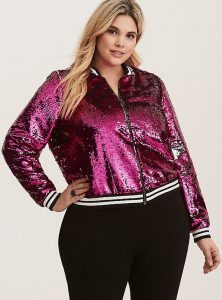 Plus Size Sequin Jacket Pink