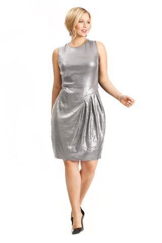 Plus Size Sequin Silver Dress