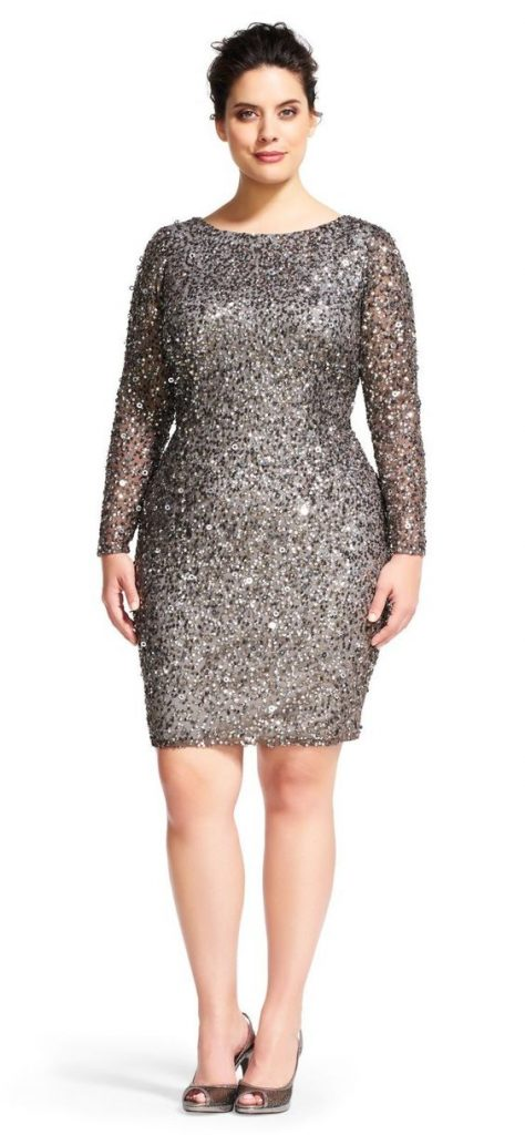 Plus Size Silver Sequin Dress
