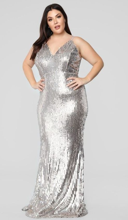 Plus Size Silver Sequin Dress for Women