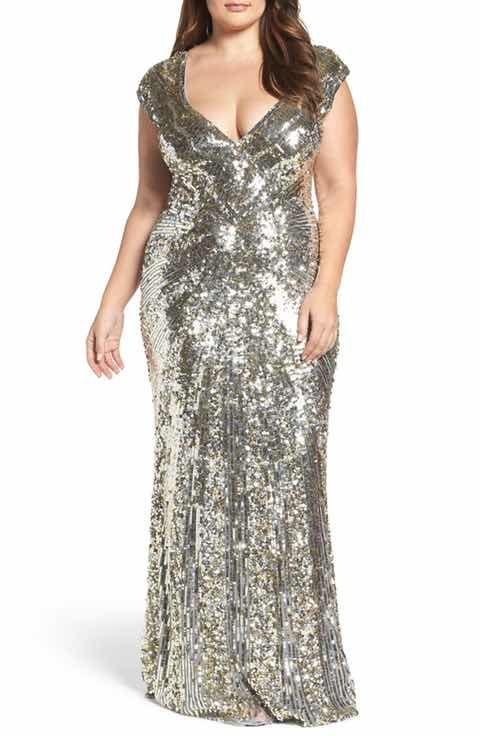 Plus Size Silver Sequin Dresses