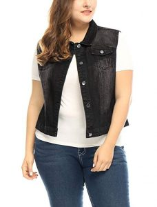 Plus Size Sleeveless Cropped Jean Jackets