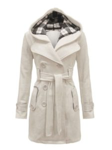 Plus Size White Hooded Coat