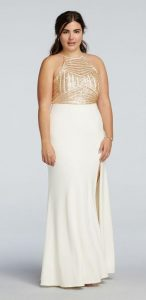 Plus Size White and Gold Prom Dress