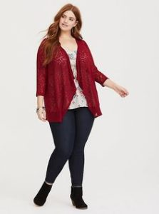 Red Plus Size Cardigan Image
