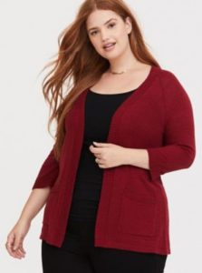Red Plus Size Cardigan Sweater