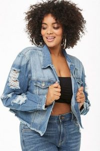 Ripped Cropped Jean Jacket Plus Size