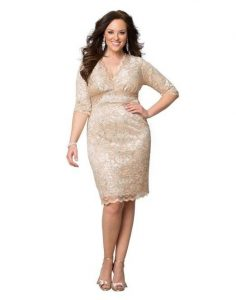 Rose Gold Plus Size Prom Dress
