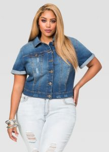 Short Sleeve Cropped Jean Jacket Plus Size