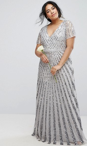 Silver Sequin Dress in Plus Size
