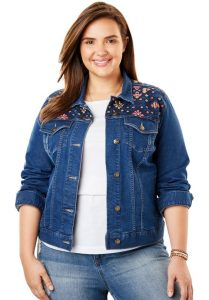 Women's Plus Size Cropped Jean Jacket