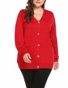 Women's Plus Size Red Cardigan