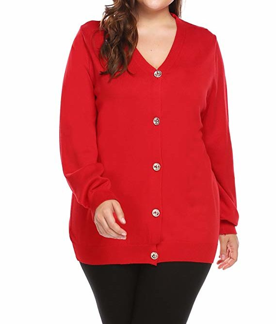 Plus Size Red Cardigan
