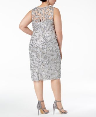 Women's Plus Size Silver Sequin Dress