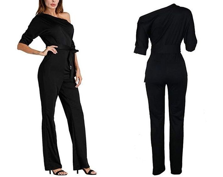 Black Jumpsuit Clubwear Off Shoulder