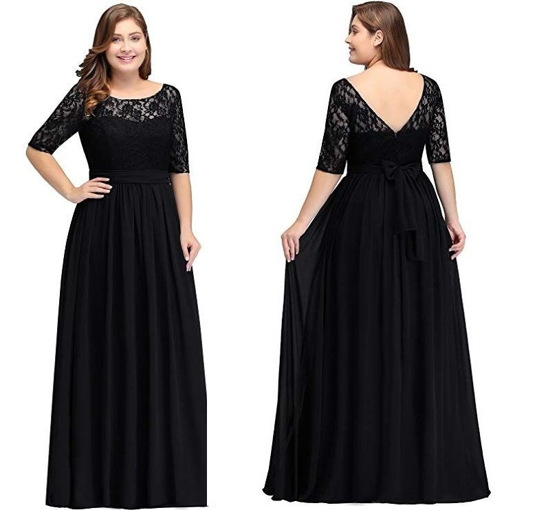 Black Long Sleeves Wedding Guest Dress Plus Size