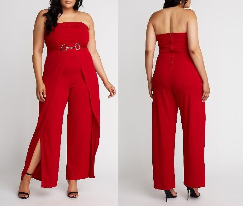 Women's Red Jumpsuit Clubwear Plus Size