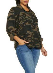 Army Fatigue Jacket in Plus Size