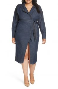 Belted Denim Shirt Dress Plus Sized