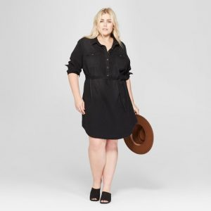 Black Plus Size Denim Shirts Dress