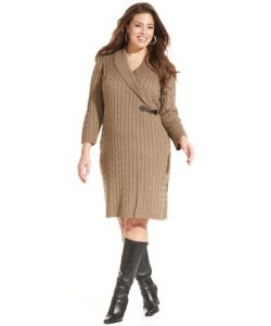 Cable Knit Dress In Plus Size