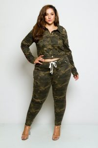 Cropped Plus Size Army Fatigue Jacket