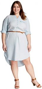 Denim Shirt Dress In Plus Size