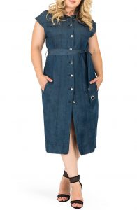 Denim Shirt Dress with Belt