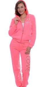 Fur Lined 2 Pc Sweatsuit Plus Size
