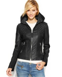 Hood Leather Jacket For Plus Size