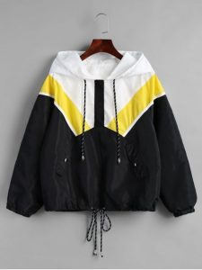 Hooded Windbreaker Jacket For Plus Size