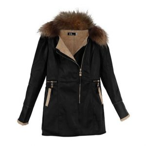Leather Jacket With Hood In XXL