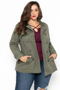 Long Plus Size Army Fatigue Jacket