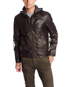 Men's Plus Size Leather Jacket With Hood
