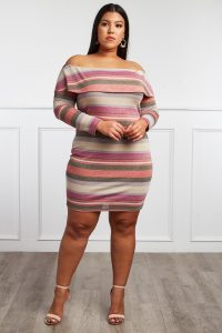 Off The Shoulder Plus size Sweater Dress