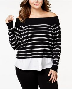 Off The Shoulder Sweater Dress In Plus Size