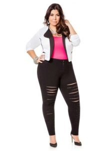 Plus Size Black Ripped Jeggings