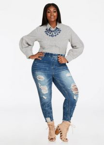 Plus Size Elastic Ripped Jeggings