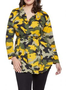 Plus Size Fatigue Jacket With Collar