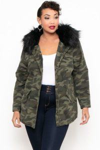 Plus Size Fur Top Fatigue Jacket