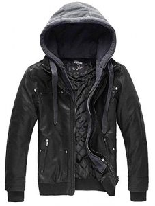 Plus Size Leather Jacket With Hood Men