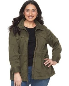 Plus Size Olive Utility Jacket