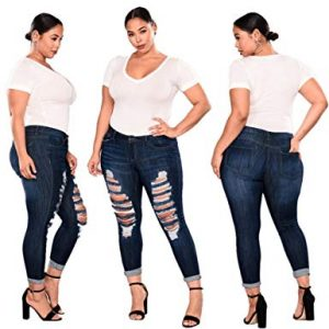Plus Size Ripped Jeggings for Women