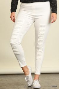Plus Size White Ripped Jeggings