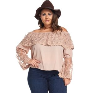 Plus Size Women Lace Tops