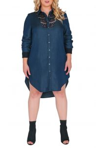 Plus Sized Denim Shirt Dress